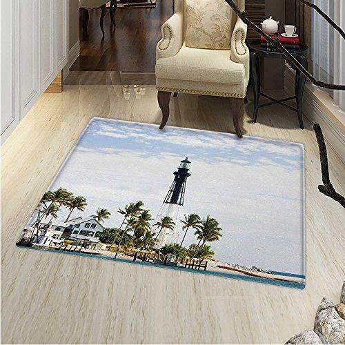 United States Rug Kid Carpet Hillsboro Lighthouse Pompano Beach Florida Atlantic Ocean Palms Coast Home Decor Foor Carpe 3'x4' Blue White Green