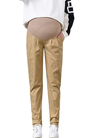 8d2902ad1d1db Maternity Khaki Pants Work Casual Straight Leg Over Belly Pregnant Women  Trousers at Amazon Women's Clothing store: