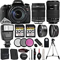 Canon EOS T6s DSLR Camera + Canon EF-S 18-135mm IS STM Lens + Canon EF-S 55-250mm IS STM Lens + 0.43X Wide Angle Lens + 2.2x Telephoto Lens - All Original Accessories Included - International Version