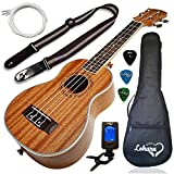 Ukulele Soprano Size Bundle From Lohanu (LU-S) 2 Strap Pins Installed FREE Uke Strap Case Tuner Picks Pick Holder Aquila Strings Installed Free Video Lessons BEST UKULELE BUNDLE DEAL Purchase Today!