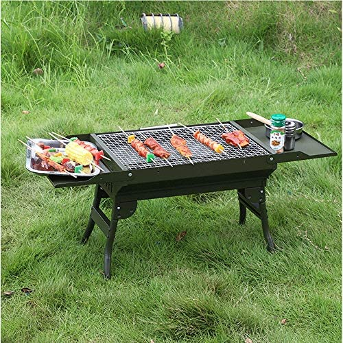 Lcxligang Barbecue Portable Pliable en Plein air Barbecue au Charbon Camping Pique-Nique Grill Barbecue Épaississement Viande
