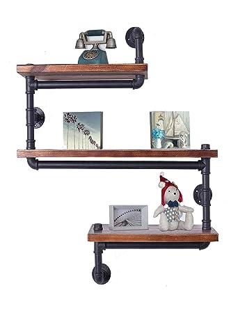 Industrial Pipe Shelving Bookshelf Rustic Modern Wood Ladder Pipe Wall Shelf 3 Tiers Wrought IronPipe Design Bookshelf DIY Shelving Dia 32mm,Weight 30lb