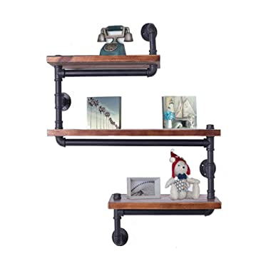 Industrial Pipe Shelving Bookshelf Rustic Modern Wood Ladder Pipe Wall Shelf 3 Tiers Wrought IronPipe Design Bookshelf DIY Shelving(Dia 32mm,Weight:30lb)
