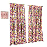 homefeel Pastel Window Curtain Fabric Memphis Style Pop Art Pattern with Striped Circles