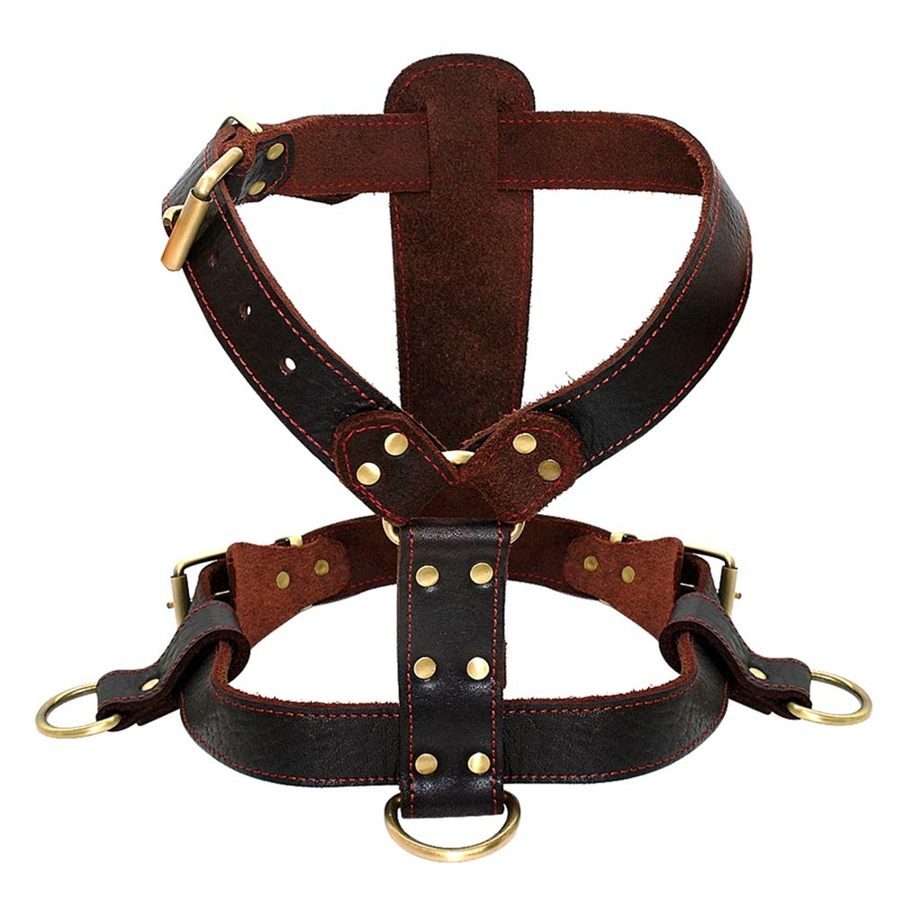 Jim Hugh Dog Harness Soft Genuine Leather Medium Large Dogs Durable Vest Adjustable Straps Chest 23-34.5'' Brown Walking Pet Harnesses XL