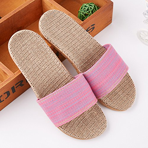 Slipper Summer Toe Skidproof Open Unisex Flax Indoor Sandals Wind Pink Breathable Shoes Slippers Goal Linen Beach Slipper Beach qnzt1XIH