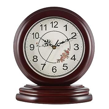 CLHXZE Reloj de Mesa Europeo de Madera Maciza | Sala de Estar Dormitorio Silencio Retro Reloj de Escritorio de Cuarzo (Color : Brown-#!): Amazon.es: Hogar