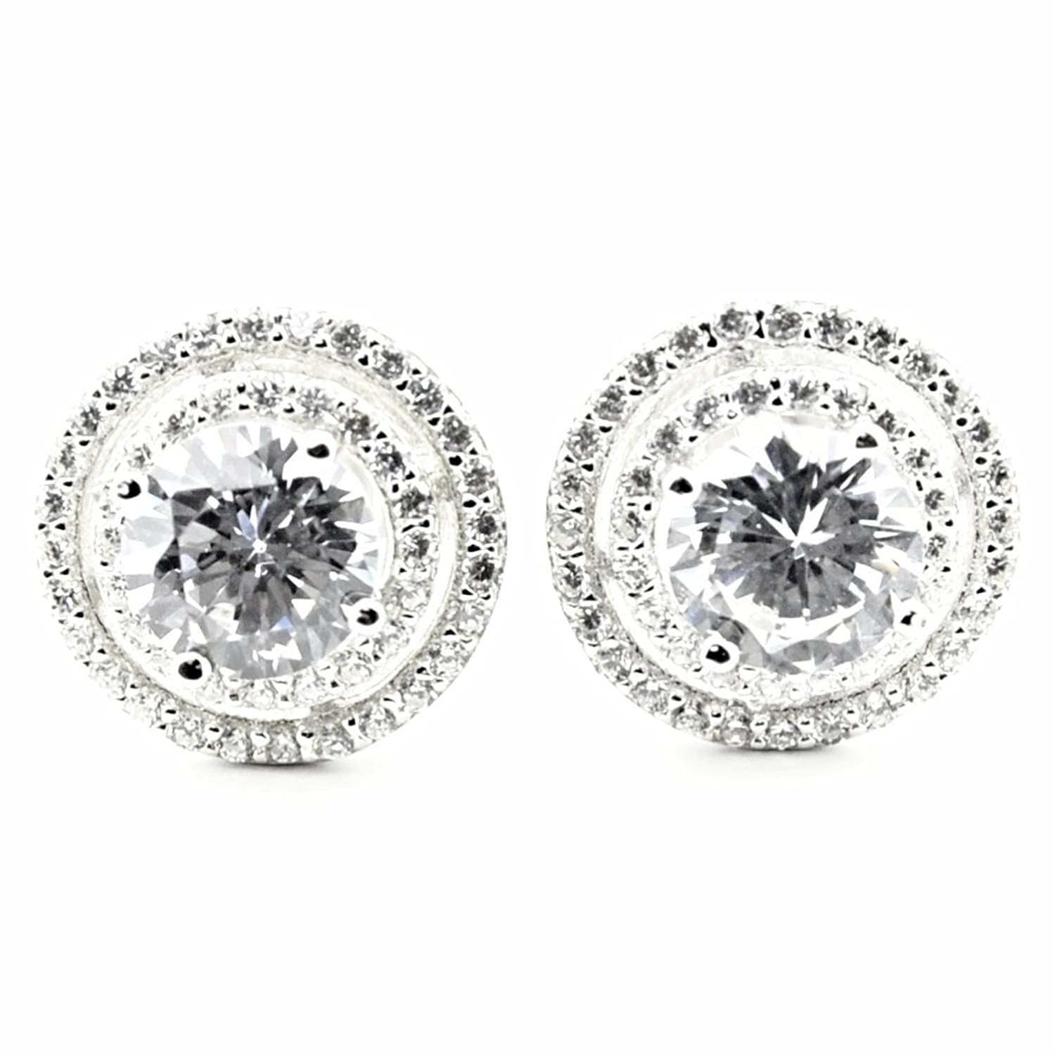 Womens Stud Earrings Large Round Halo CZ Screw Back 11.5MM Sterling Silver