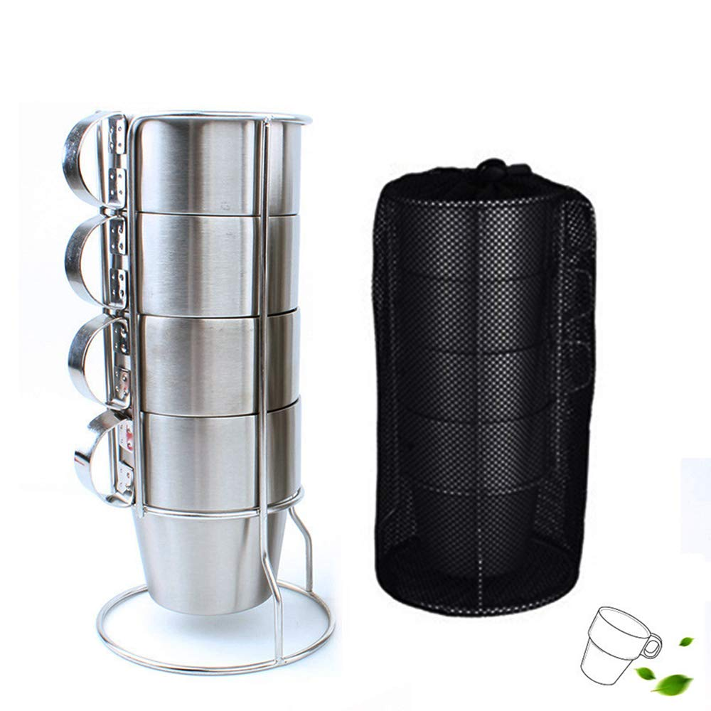 4 PCS Insulation Coffee Cup 304 Stainless Steel Double Insulation Set Cup 300ML Free Mesh Storage Bag - Outdoor Camping Tableware BBQ
