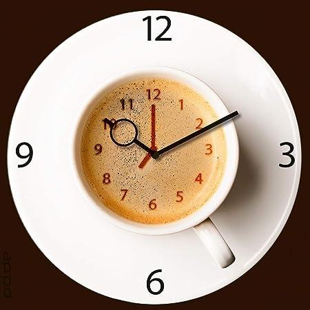 Reloj de pared decorativo en cafetera de tiempo, tamaño 30 x 30 cm: Amazon.es: Hogar