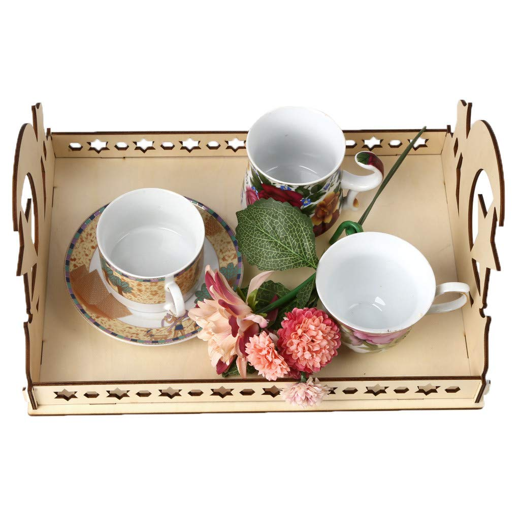 Staron Wood Serving Tray Wooden Artistic Eid Serving Tableware Tray Display Wood Decoration Food Drink Breakfast Trays (C) by Staron  (Image #5)