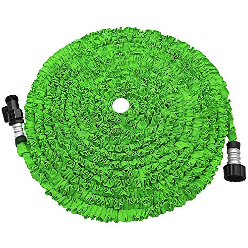 POYINRO Expandable Garden Hose, Strongest Expanding Garden Hose on The Market with Triple Layer Latex Core & Latest Improved Extra Strength Fabric Protection for All Your Watering Needs (Green, 75)
