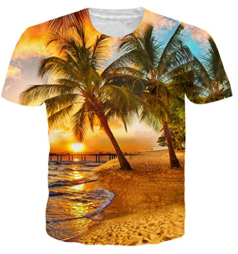Adicreat Teen Girls Boys Hawaii Style T-Shirt Summer Print Coco Sunset Beach Graphic Top Tees,Coconut Tree,Small