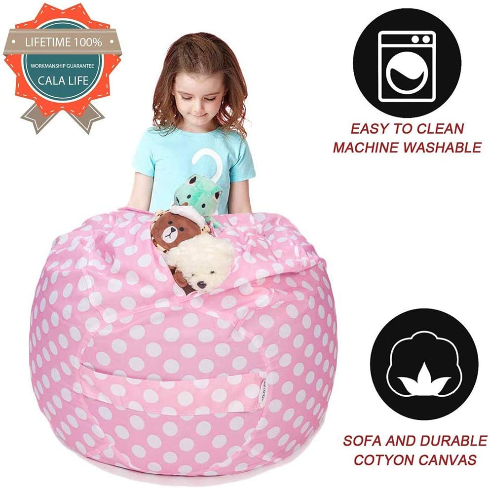 Gray Flora 100/% Cotton Canvas Cover CALA LIFE Kids Stuffed Animal Storage Bean Bag Chair Cover Flora Extra Large 38 Beanbag Cover 100+ Plush Toys Holder and Organizer for Boys and Girls