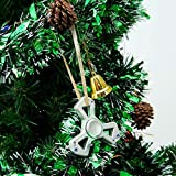 Matashi Chrome Plated Silver Hanging Triangle Spinning Ornament w Crystals | Holiday Tree Décor | Cheerful Hanging Decoration for Seasonal Beauty | Shiny, Metal Finish | Ornamental