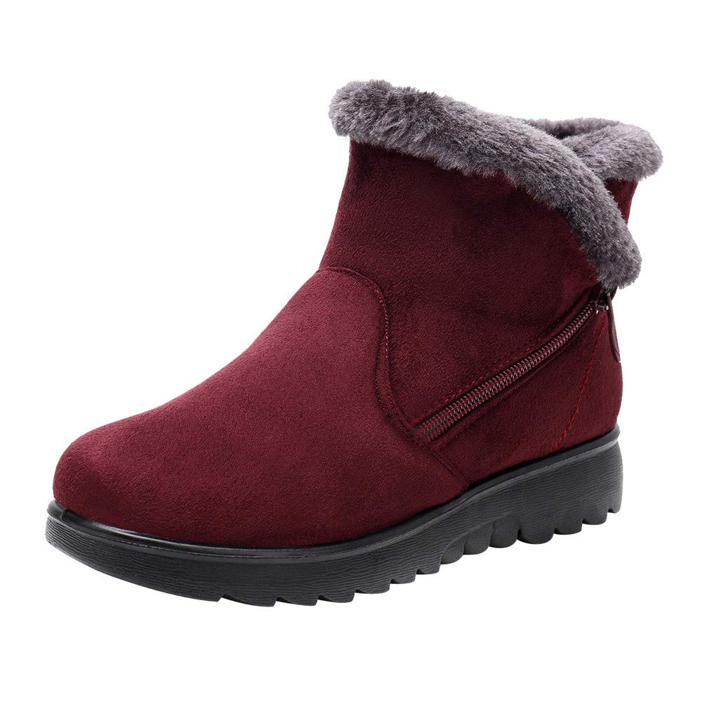 WOCACHI Boots for Womens, Women's Ladies Winter Ankle Martin Short Snow Boots Fur Footwear Warm Shoes Women' s Ladies Winter Ankle Martin Short Snow Boots Fur Footwear Warm Shoes WOCACHI-181205