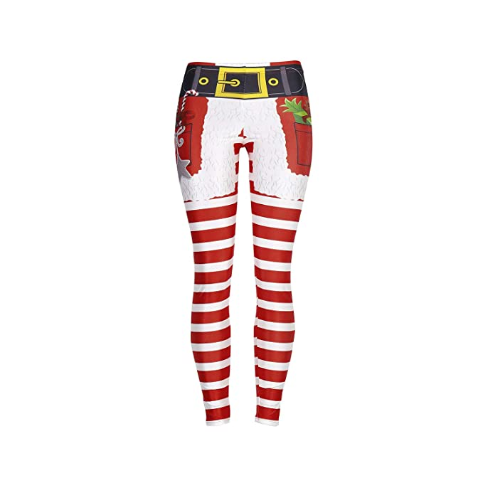 4a014f67903109 XJ-AM 2018 Christmas Fitness Leggings Women Leggins Push Legging Red White  Striped at Amazon Women's Clothing store: