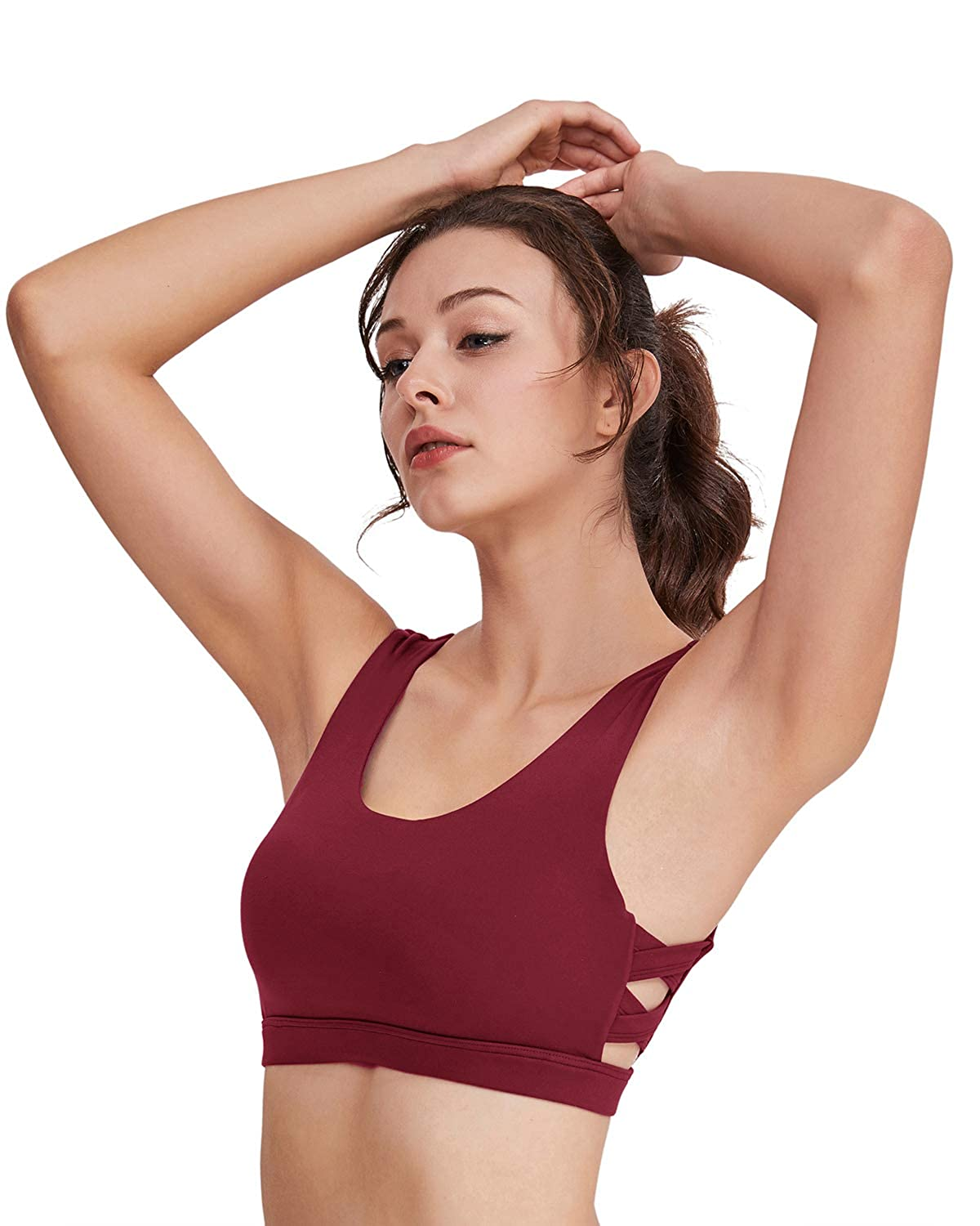 HAIVIDO Womens Medium Impact Scoopneck Soft Cup Keyhold Back Coverage Sports Bra
