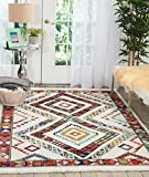 Nourison Tribal Decor TRL02 Traditional Colorful White Area Rug 3 Feet 11 Inches by 6 Feet 2 Inches, 3'11''X6'2'