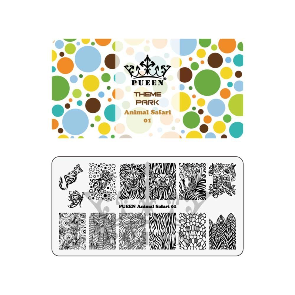 PUEEN Nail Art Stamping Plate - Animal Safari 01 - Theme Park Collection 125x65mm Unique Nailart Polish Stamping Manicure Image Plates Accessories Kit - BH000713
