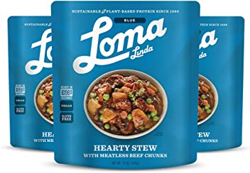 Loma Linda Blue - Vegan Complete Meal Solution - Heat & Eat Hearty Stew (10 oz.) (Pack of 3) - Non-GMO, Gluten Free