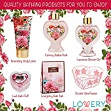 Spa Gift Basket in Red Rose Fragrance - Lovely Bath Gifts - Best Home Spa Set - Luxury Bath & Body Set, Contains Shower Gel, Bubble Bath, Body Lotion, Bath Salt, Puff & Heart Wired Basket