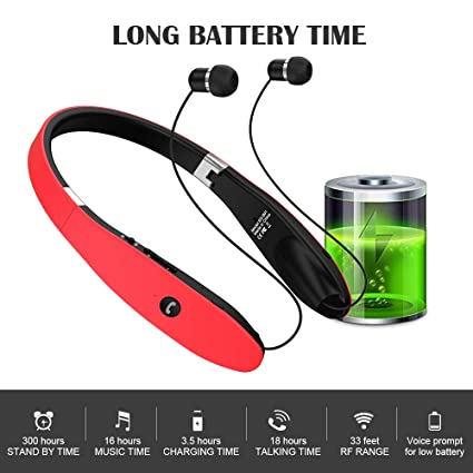 Amazon.com: Bluetooth Headphones, Wireless Bluetooth Headset, Wireless Foldable Retractable Headset with Neckband Design Compatible for iPhone X/8/7 Plus ...
