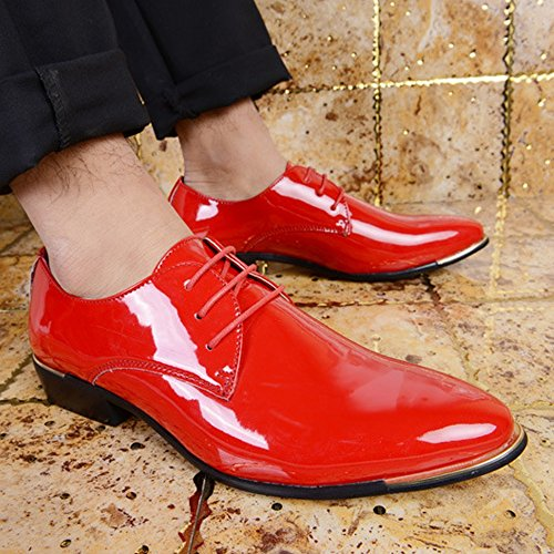 Formelles Lisses Richelieus Chaussures Robe À Top Basse Red Business ZX en Cuir Cuir Lacets Oxford Doublé Hommes Classique Chaussures pour PU Mocassins Hommes Chaussures qqUYRI