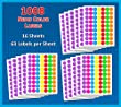 Pack of 1008 1-inch Diameter Round Color Coding Dot Labels, 7 Bright Neon Colors, 8 1/2\