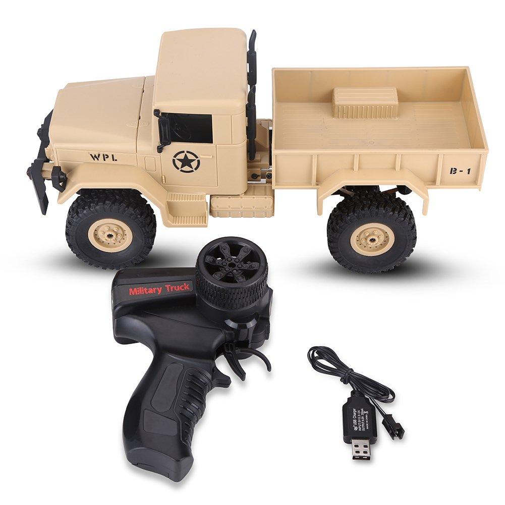 Walfront 2.4G RC Car 4 Rad Fernbedienung Off - Road Auto Fahrzeug Militärlastwagen(Braun)