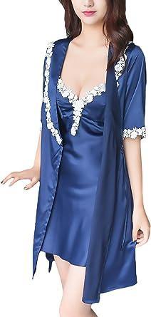 Batas Mujer 2 Pieza Conjuntos Pijama Corto Elegantes con ...