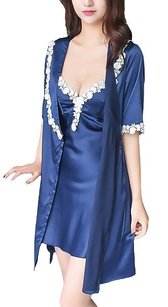 Camison Mujer 2 Pieza Conjuntos Pijama Corto Elegantes con Almohadillas Extraíbles Moda Ropa Dama Camisones Sleepwear