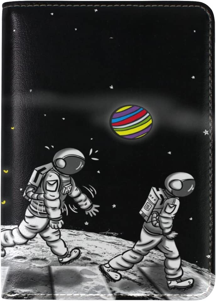 Cooper girl Cartoon Solar System Planets Passport Cover Holder Case Leather Protector for Men Women Kid