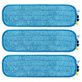 TEBEST 18'' Microfiber Replacement Mop Pads, Standard Looped Flat Wet Mop Home and Commercial Cleaning Refills (Blue)