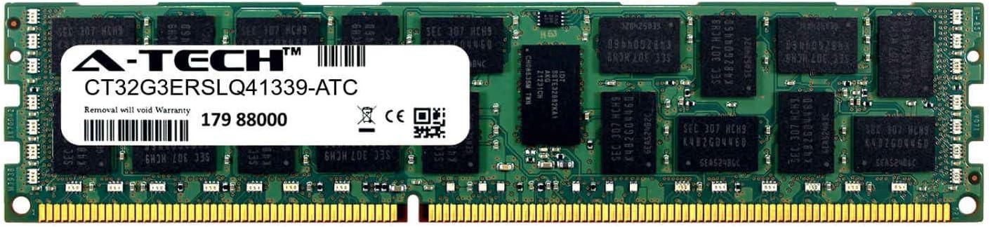 DDR3//DDR3L 1333MHz PC3-10600 ECC Registered RDIMM 4rx4 1.35v CT32G3ERSLQ41339-ATC Single Server Memory Ram Stick A-Tech 32GB Replacement for Crucial CT32G3ERSLQ41339