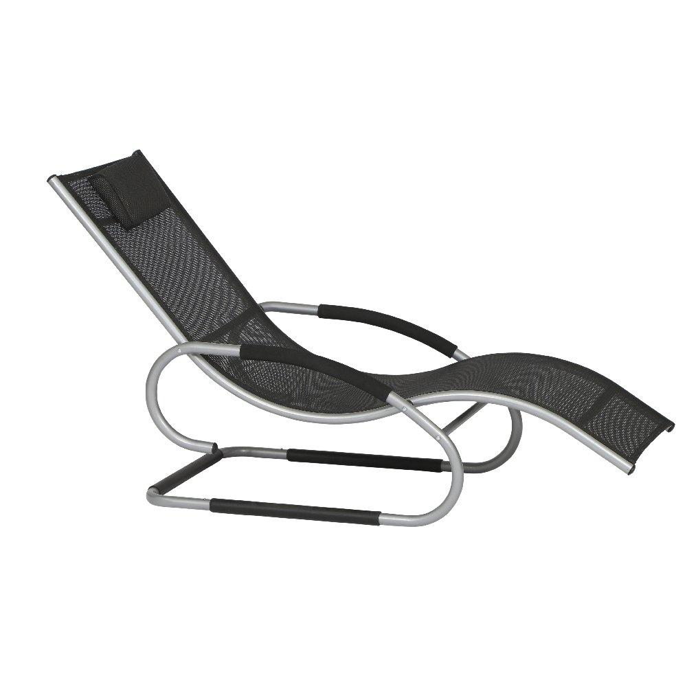 Siena Garden 104898 Swingliege Adria Aluminium-Gestell silber Ranotex®-Gewebe 4*4 schwarz Armlehnen gepolstert, mit Kopfteil