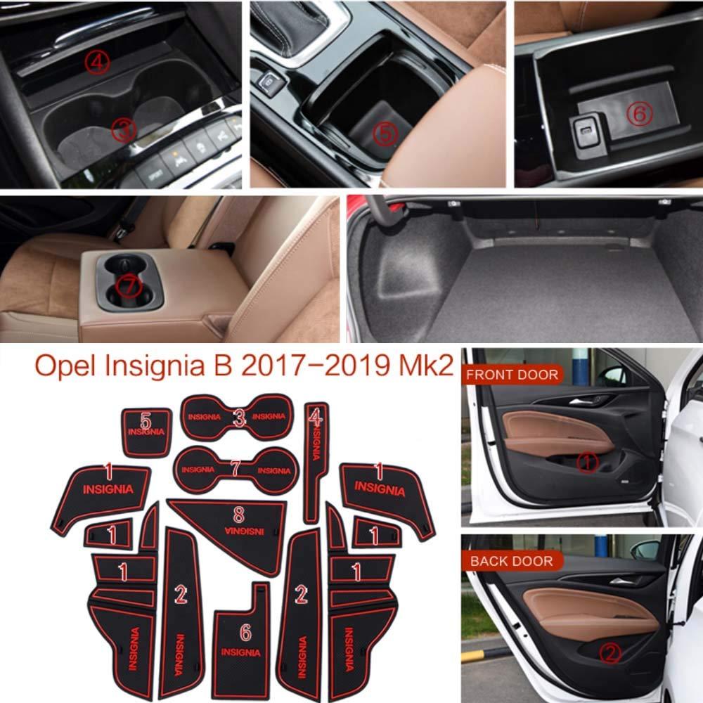 white Gate slot Mats F/ür Insignia B MK2 Interior Door Pad Car Cup Holders Non-slip mats Antirutschmatten 2017-2019