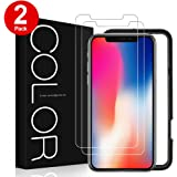 iPhone X Screen Protector, G-Color iPhone X 9H Tempered Glass Screen Protector for Apple iPhone X (2 Pack)