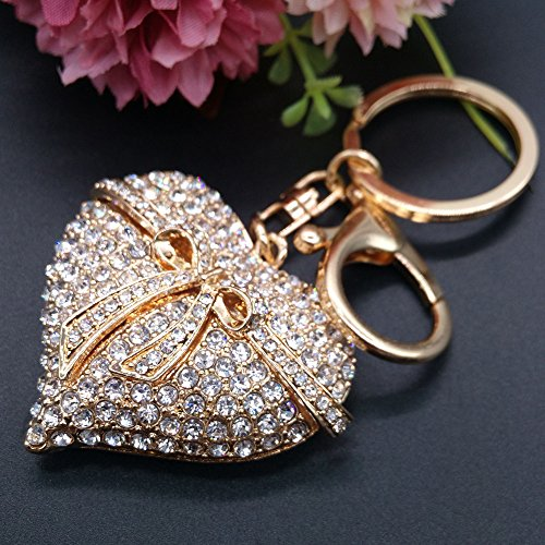 Charms Findings Purses (Creative Loving Heart Rhinestones Alloy Key Chain Adjustable Metal Ring Keychain Purse Charm Pendant Bag Keyring Gift (Gold))