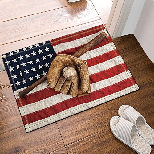 Baseball Match Supply On American Flag Bath Rugs Non-Slip Floor Entryways Outdoor Indoor Front Door Mat 23.6X15.7in Bath Mat Bathroom Rugs ()