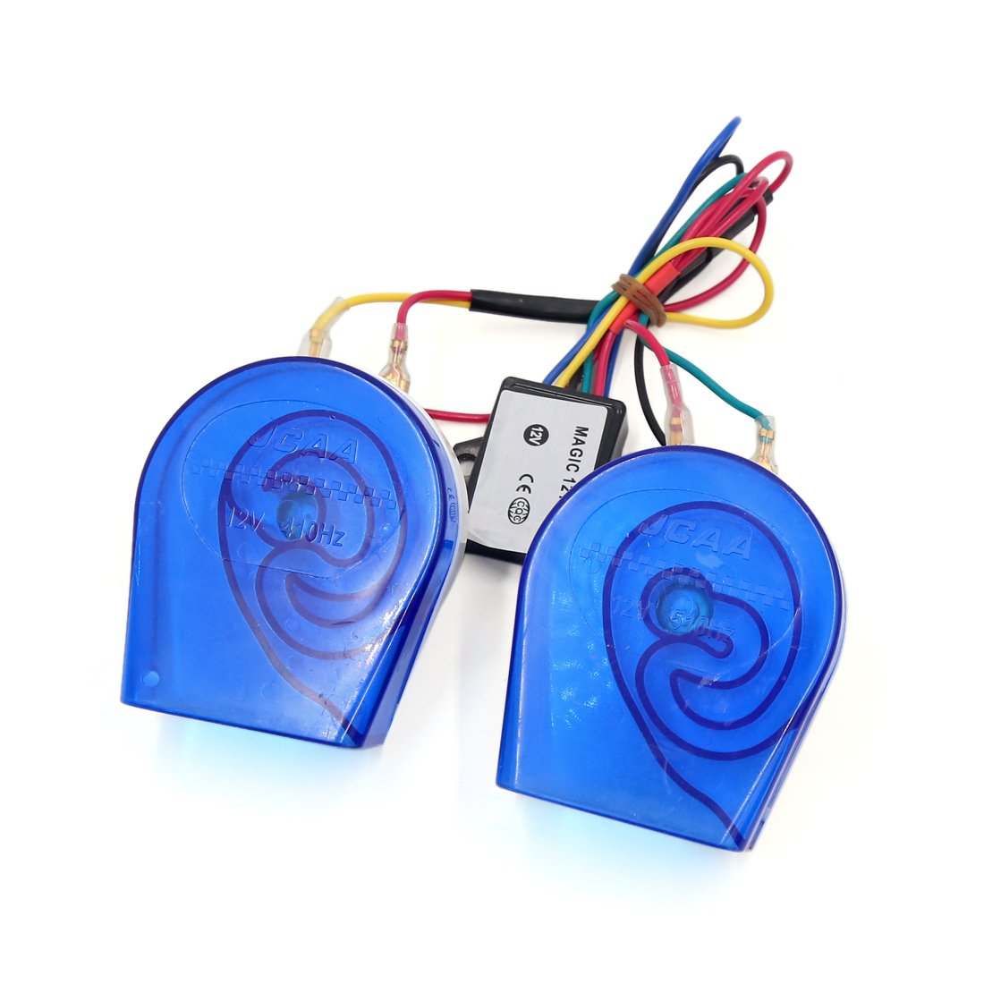 uxcell 2pcs Blue Plastic Shell 12V High Low Sound Electric Snail Horn for Car Truck by uxcell
