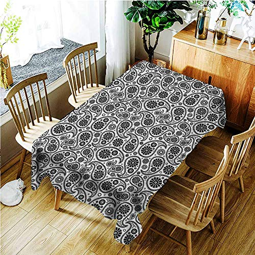 TT.HOME Custom Tablecloth,Paisley Sixties Themed Design with Floral Geometrical Details Circle Backgrounded,Resistant/Spill-Proof/Waterproof Table Cover,W60X102L,Black and White