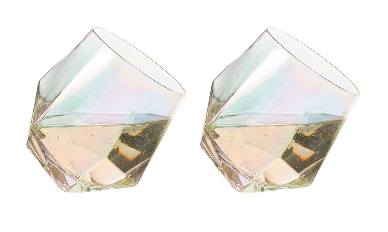 Bar Bespoke Set of 2 Diamond Rainbow Lustre Metallic Whisky Spirit Glasses 450ml   Whiskey Tilting Glass Tumblers Jeray
