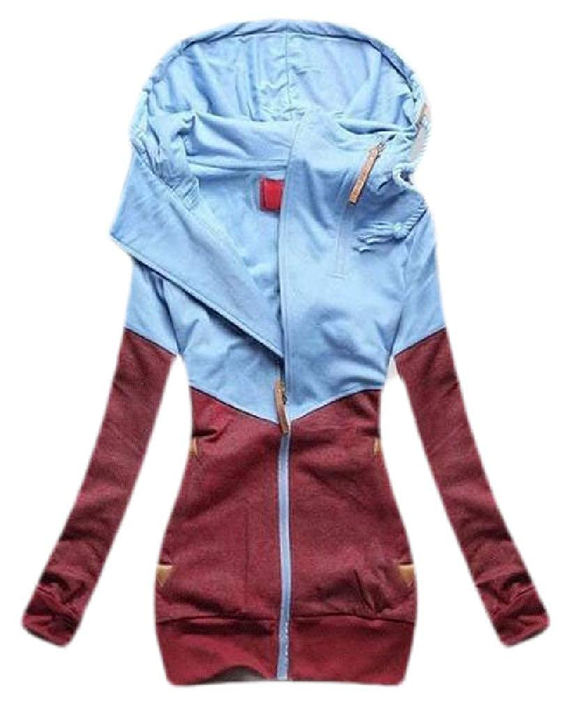Etecredpow Womens Color Block Drawstring Pocket Zip Up Coat Hooded Sweatshirts