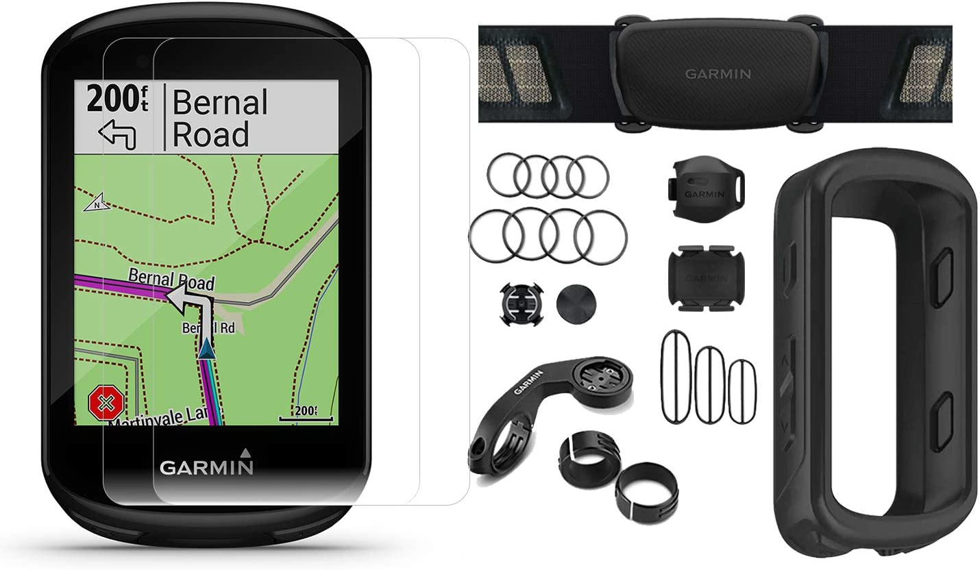 Garmin Edge 830 2019 Version Cycle GPS Bundle with Chest Strap HRM, Bluetooth Speed Cadence Sensors, Silicone Case Screen Protectors x2 Touchscreen, Mapping Bike Computer Black Sensors