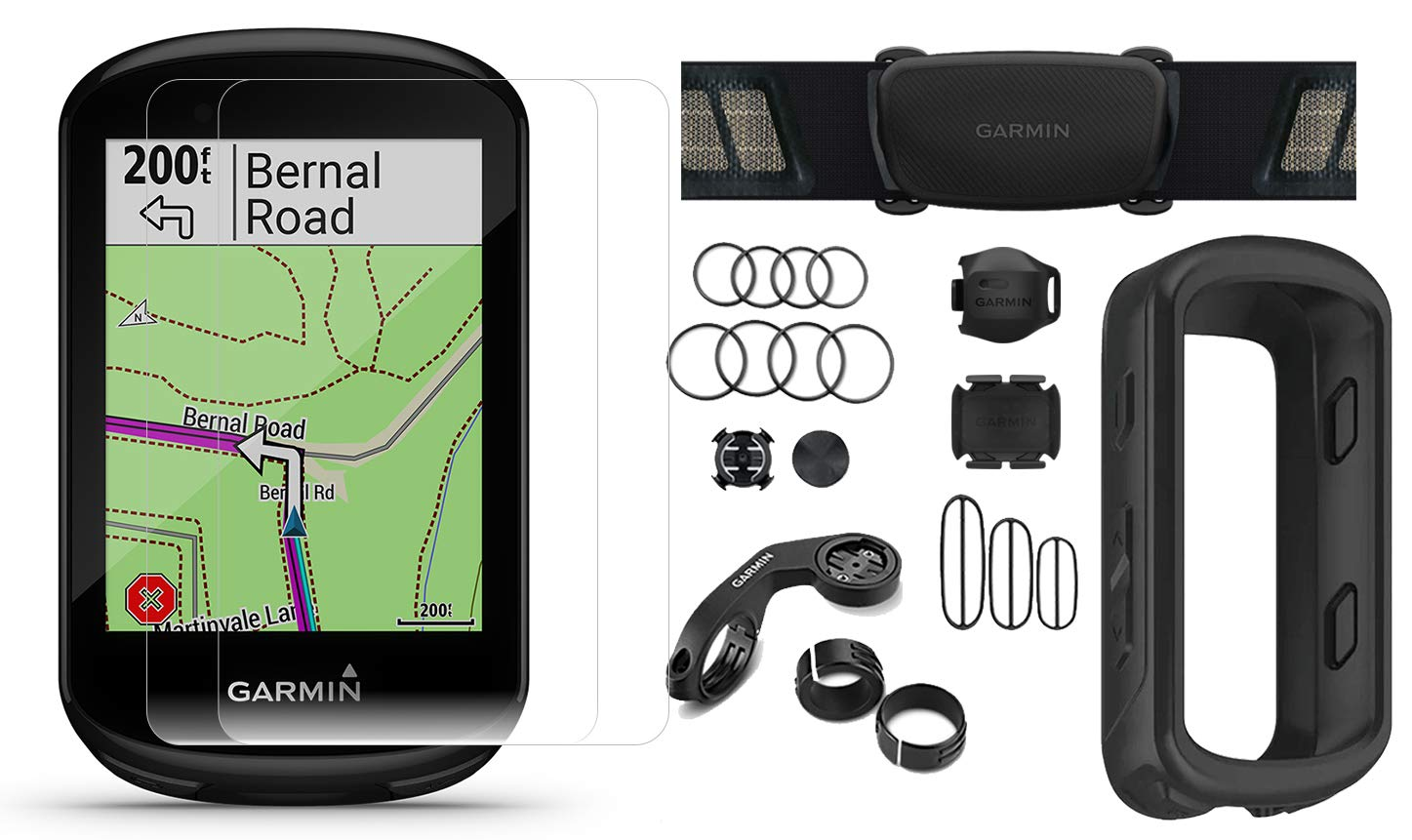 Garmin Edge 830 (2019 Version) Cycle GPS Bundle with Chest Strap HRM, Bluetooth Speed/Cadence Sensors, Silicone Case & Screen Protectors (x2) | Touchscreen, Mapping | Bike Computer (Black + Sensors) by PlayBetter