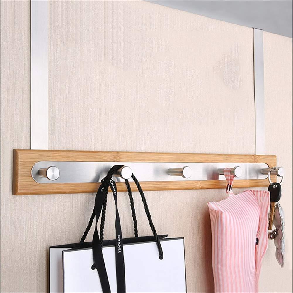 ZXWCYJ Over The Door Hook Hanger, Bamboo Wood & Stainless Steel Over The Door Towel Rack, 5 Hooks, for Jackets, Coats, Hoodies, Hats, Scarves Etc
