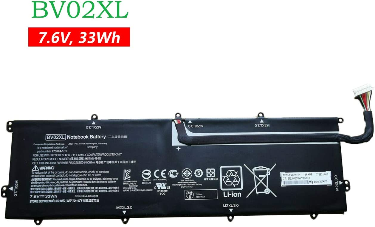 BOWEIRUI BV02XL (7.6V 33Wh) Laptop Battery Replacement for Hp Envy X2 Detachable 13 Series 775624-1C1 TPN-I116 HSTNN-IB6Q