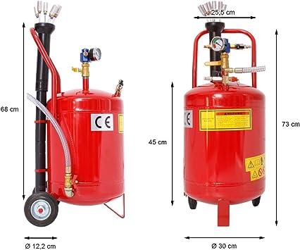ECD Germany Aspirador de Aceite 24 Litros Extractor Neumático de Fluidos de Vacío Tanque con Ruedas Sonda de Succión Recuperación Cambio de Aceite Medidor Regulador de Presión para Motor de Vehículos: Amazon.es: