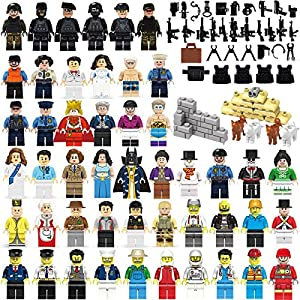 Education Community Minifigures Set of 48 Figures + Weapons set Building Bricks Community Mini People and Accessories (STYLE 2)